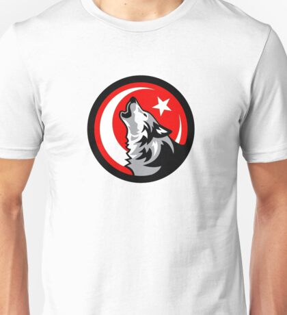 Wolf Howling at Crescent Moon and Star - Red Unisex T-Shirt