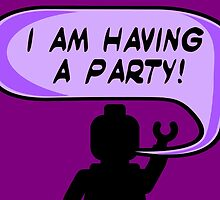 """I AM HAVING A PARTY"" Invitation  by Customize My Minifig"