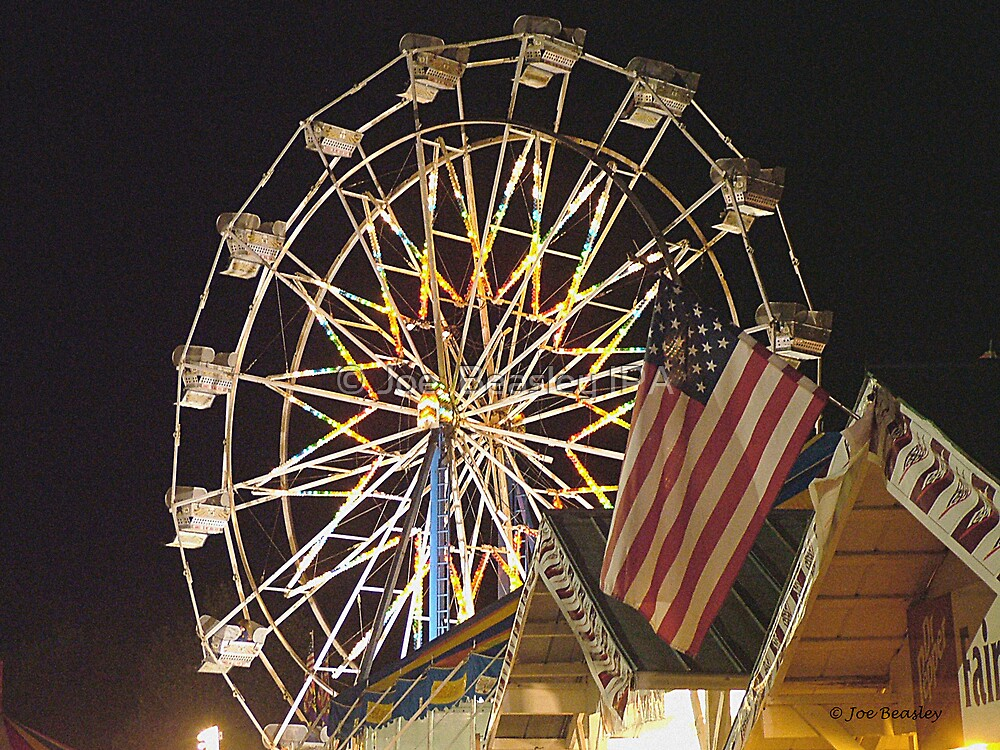Flag and Ferris Wheel at the Fair  by © Joe  Beasley IPA