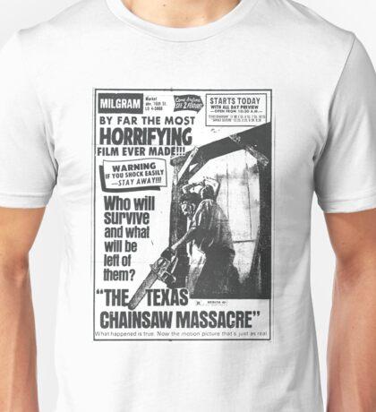 The Texas Chainsaw Massacre Vintage Newspaper Ad Unisex T-Shirt