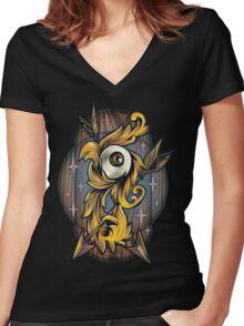 Filigree Eye  Women's Fitted V-Neck T-Shirt