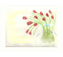 Jonathan James - modern tulips  Art Print
