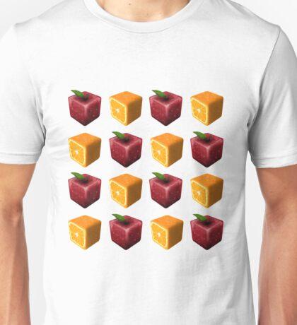 Freaky Fruit Cubes Pattern - Transparent Background Unisex T-Shirt