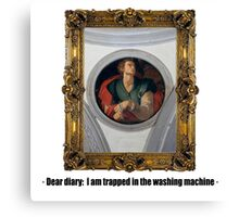 Dear diary: I am trapped in the washing machine Canvas Print