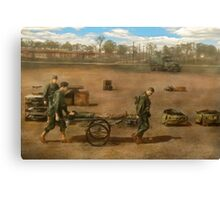 Doctor - Demonstrating a wheel litter  Canvas Print