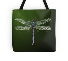 Bedazzled Dragonfly with Green to Black Background Tote Bag
