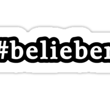 Belieber - Hashtag - Black & White Sticker