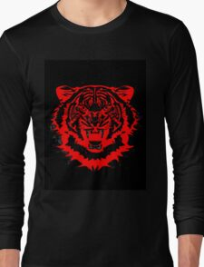 Snarling Arty Tiger Artwork in Blacks and Reds Long Sleeve T-Shirt
