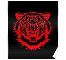 Snarling Arty Tiger Artwork in Blacks and Reds Poster