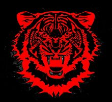 Snarling Arty Tiger Artwork in Blacks and Reds by NaturePrints
