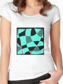 Aquamarine and black abstract blocks Women's Fitted Scoop T-Shirt