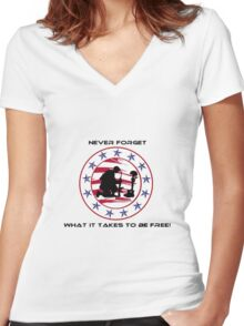 Fallen Soldier  Never Forget Women's Fitted V-Neck T-Shirt
