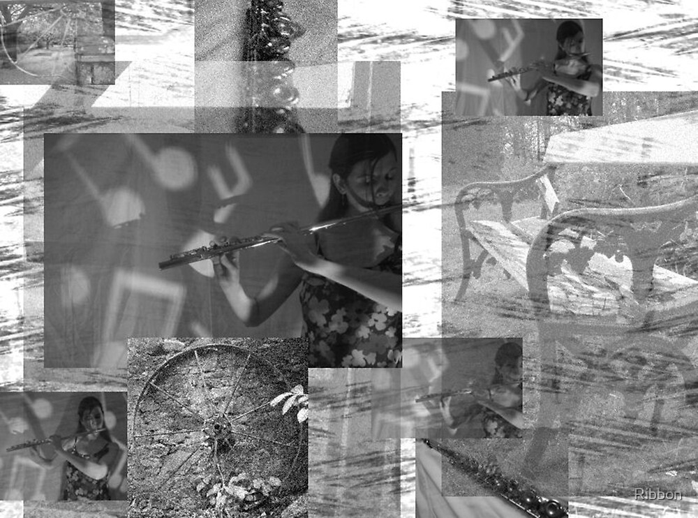 The Flute Player Music Collage by Ribbon