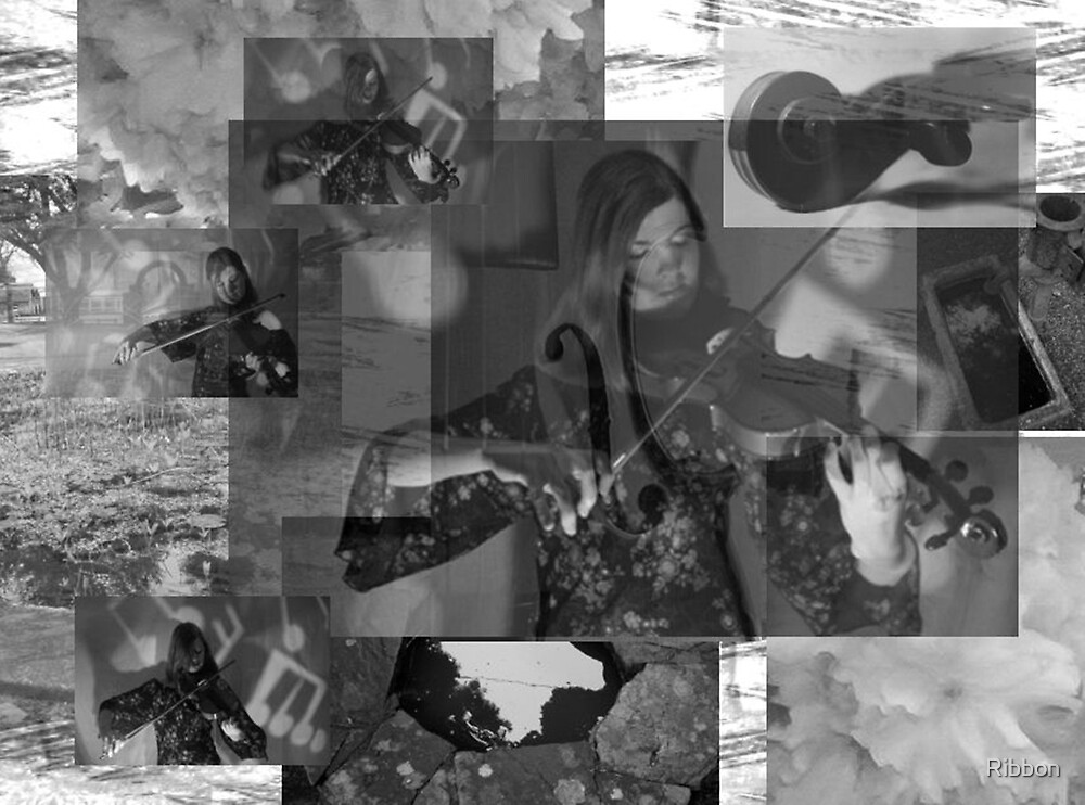 The Violin Player Music Collage 2 by Ribbon