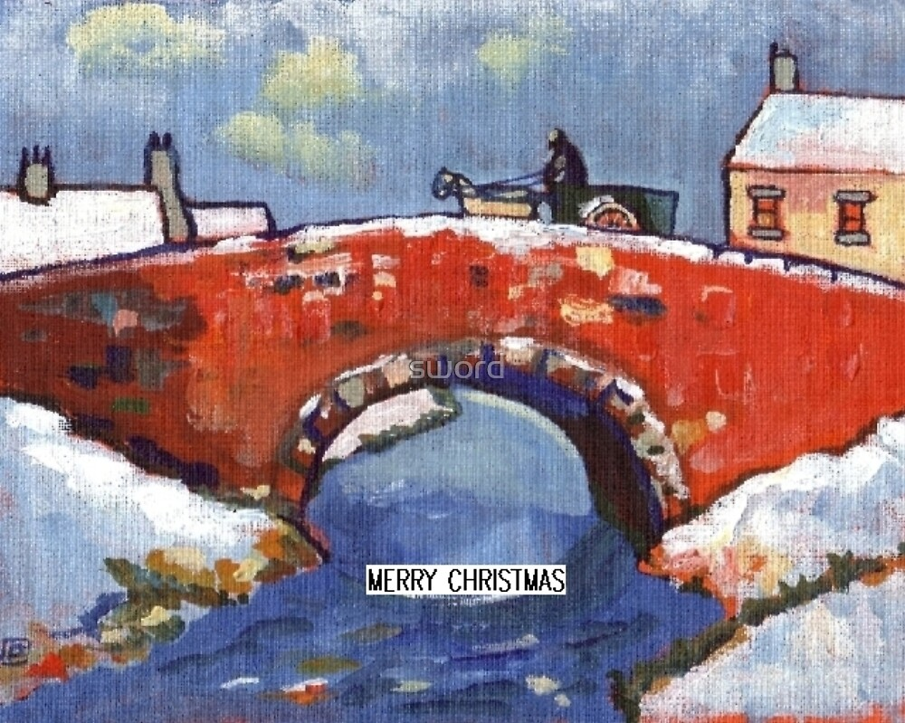 Merry christmas River landscape in snow (from my original acrylic painting) by sword