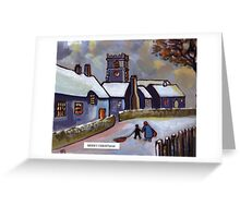 Merry christmas card English village snowscene (from my original acrylic painting) Greeting Card