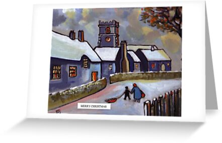 Merry christmas card English village snowscene (from my original acrylic painting) by sword