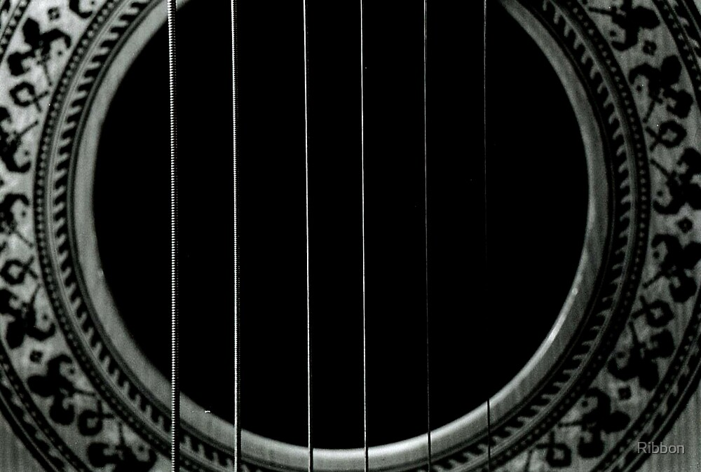 Guitar Strings Close Up by Ribbon