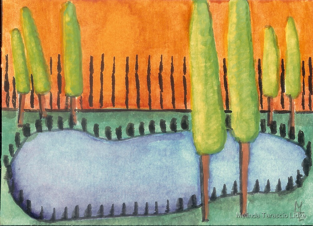 Blue Pond Watercolor 471 by Melinda Tarascio Lidke