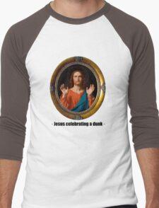 Jesus celebrating a dunk Men's Baseball ¾ T-Shirt