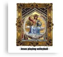 Jesus playing volleyball Canvas Print
