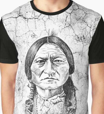 Native American Indian Chief Sitting Bull Grunge Portrait Graphic T-Shirt