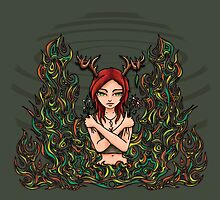 Daughter of Cernunnos by VisionQuestArts