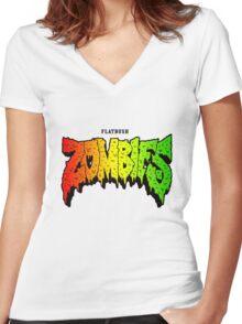 FLATBUSH ZOMBIES RASTA COLOR Women's Fitted V-Neck T-Shirt