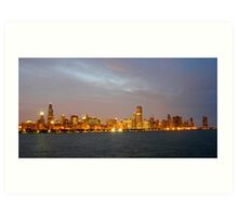Chicago Illinois skyline in the evening Art Print