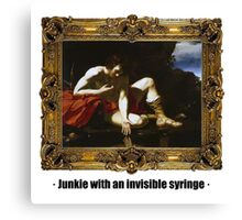 Junkie with an invisible syringe Canvas Print