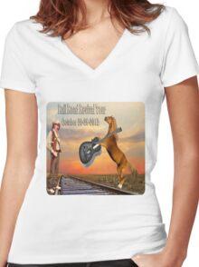 MY DESIGN~~   2012 RAILROAD REVIVAL TOUR T-SHIRT  Women's Fitted V-Neck T-Shirt