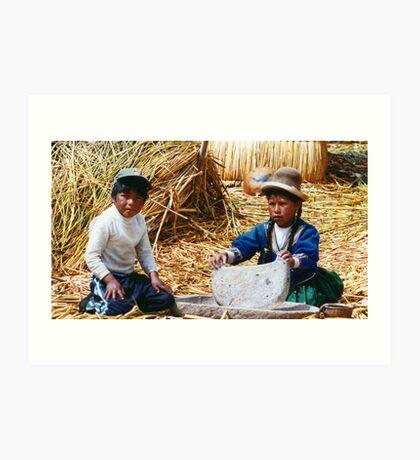 peruvian kids Art Print