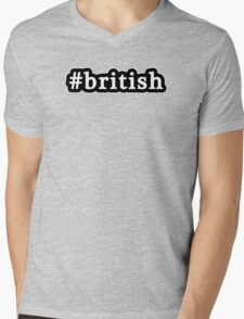 British - Hashtag - Black & White Mens V-Neck T-Shirt