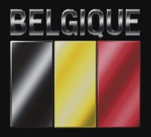 Belgique - Belgian Flag & Text - Metallic Kids Clothes
