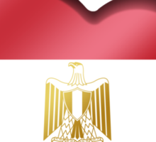 Egypt - Egyptian Flag Heart & Text - Metallic Sticker