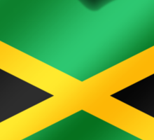 Jamaica - Jamaican Flag Heart & Text - Metallic Sticker