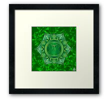 Heart Chakra with green flare BG Framed Print