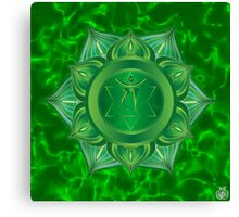 Heart Chakra with green flare BG Canvas Print