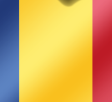 Romania - Romanian Flag Heart & Text - Metallic Sticker