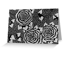 Roses in Black and White, Tattoo-style Greeting Card