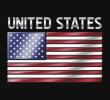 United States - American Flag & Text - Metallic by graphix