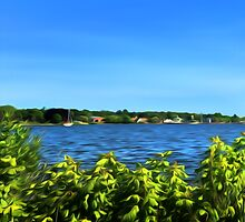 Painterly Mystic River in Summer by VisionQuestArts