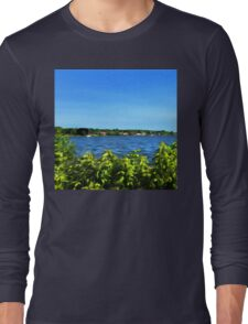 Painterly Mystic River in Summer Long Sleeve T-Shirt