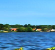 Painterly Mystic River in Summer Sticker