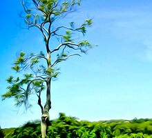 Painterly Lonely Tree on Hilltop by VisionQuestArts