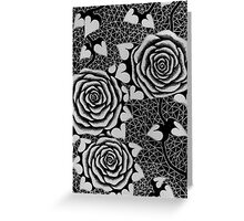 Roses in Black and White, Tattoo style Greeting Card