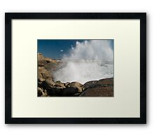 Peggys Cove Crashing Waves Framed Print