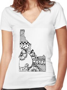 Idaho ZenDoodle Women's Fitted V-Neck T-Shirt