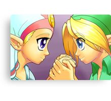 Legend of Zelda: Ocarina of Time - Young Link and Zelda Metal Print