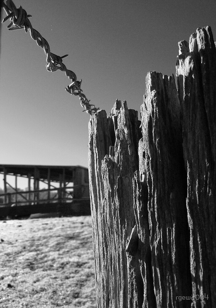 Barbwired Fencepost by Greg Halliday